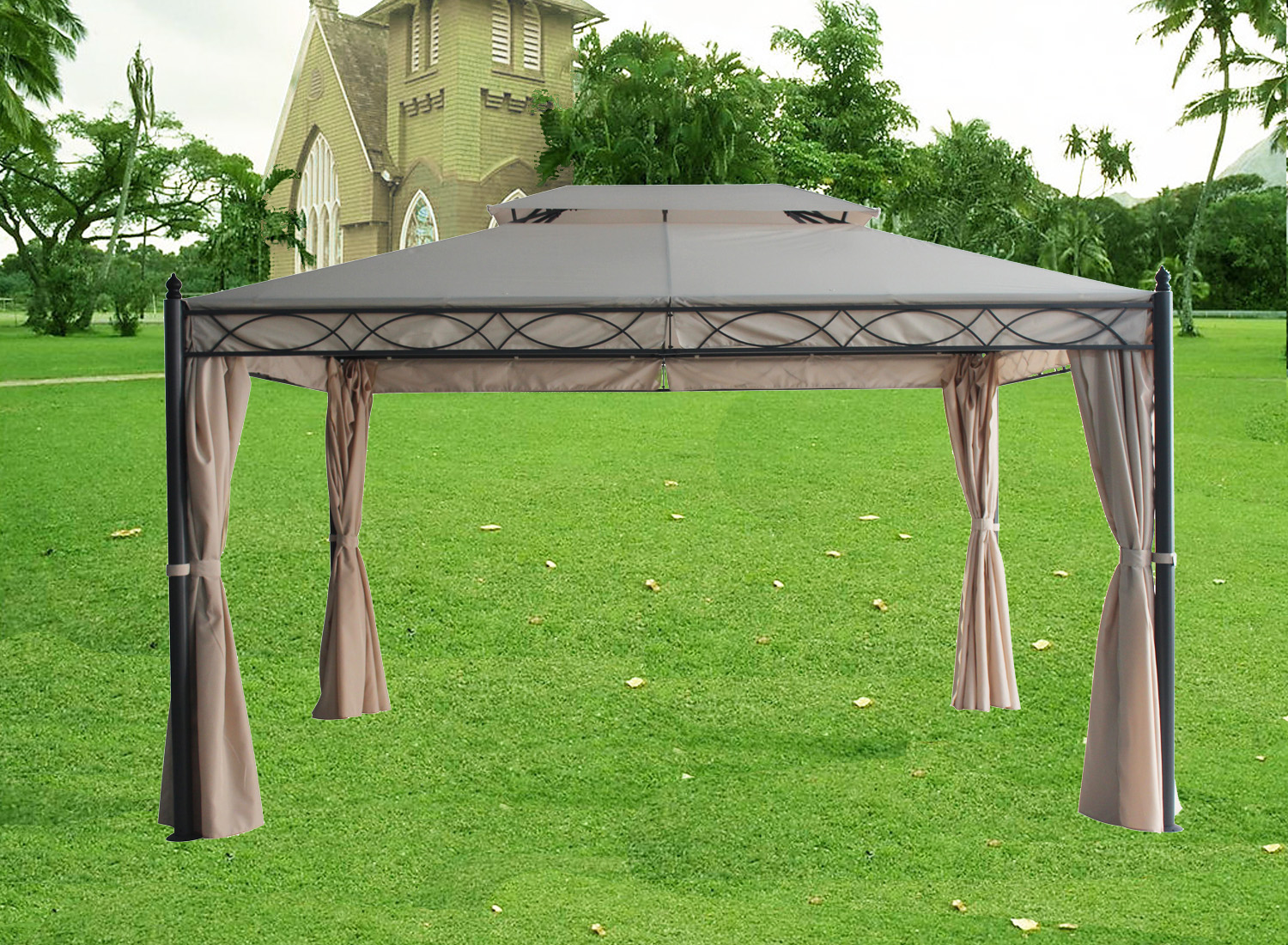 3 x 4m deluxe metal gazebo pavilion awning canopy sun. Black Bedroom Furniture Sets. Home Design Ideas