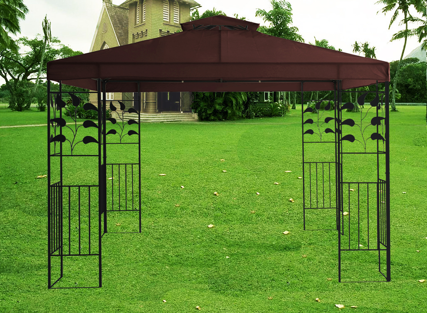 3m pavilion metal gazebo awning canopy sun shade shelter. Black Bedroom Furniture Sets. Home Design Ideas