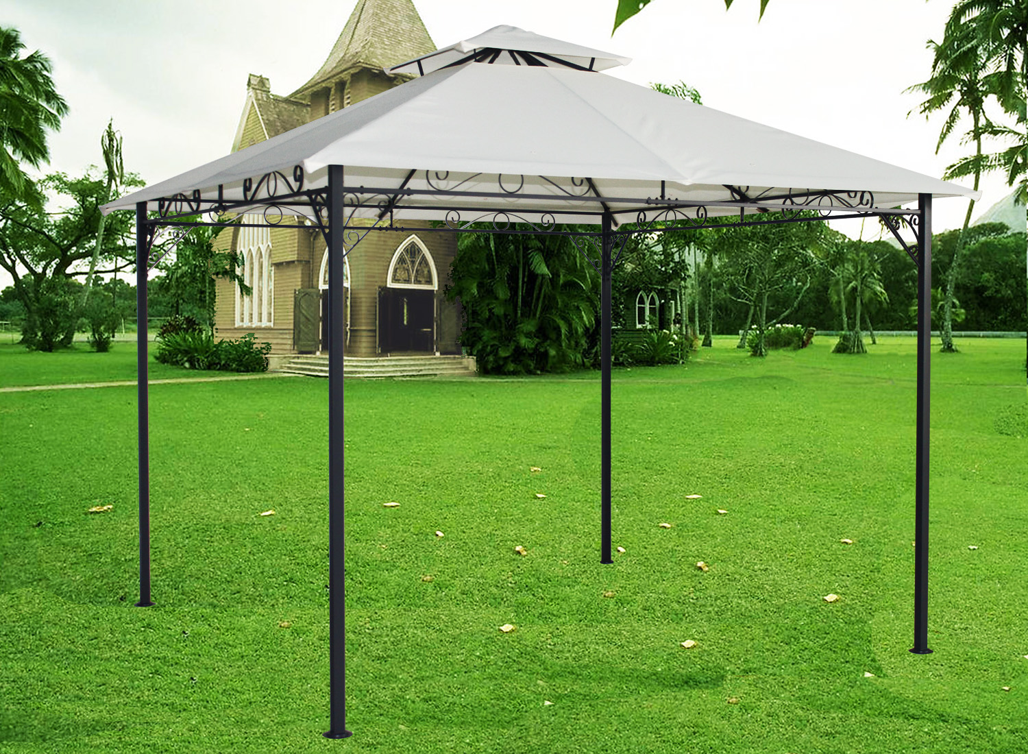 3x3m metal pavilion gazebo awning canopy sun shade shelter. Black Bedroom Furniture Sets. Home Design Ideas
