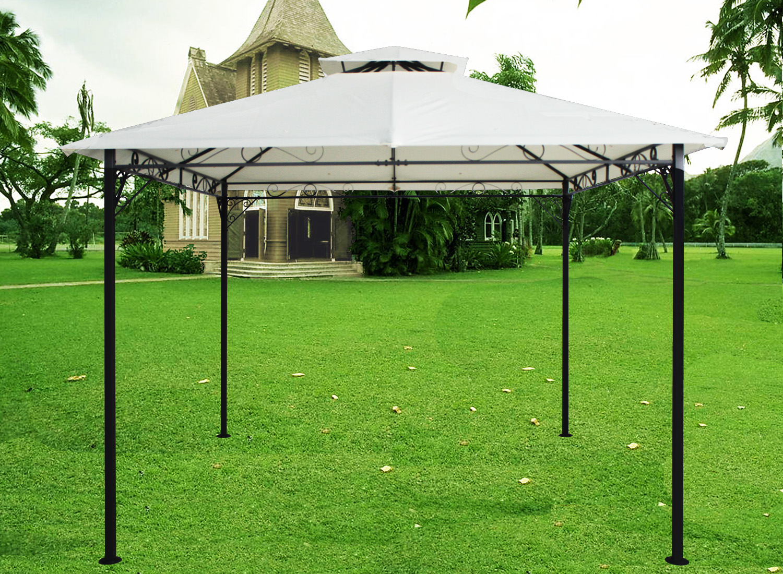 Metal Covered Gazebos : M metal pavilion gazebo awning canopy sun shade shelter
