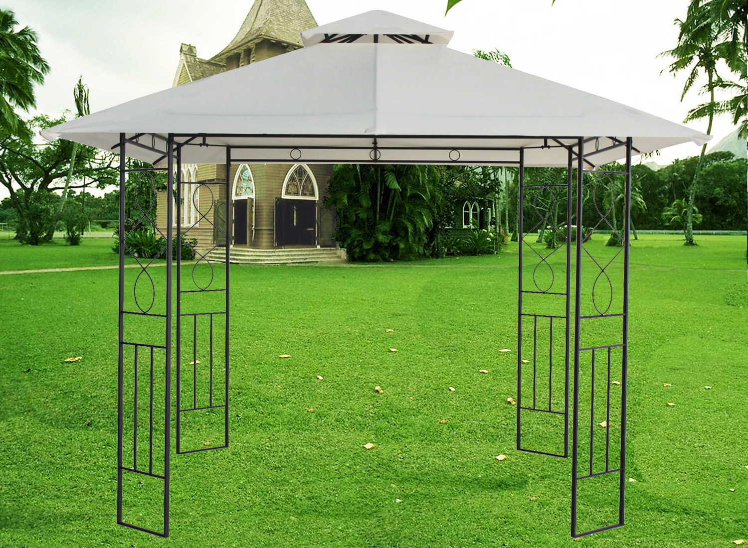 3x3m pavilion metal gazebo awning canopy sun shade shelter. Black Bedroom Furniture Sets. Home Design Ideas