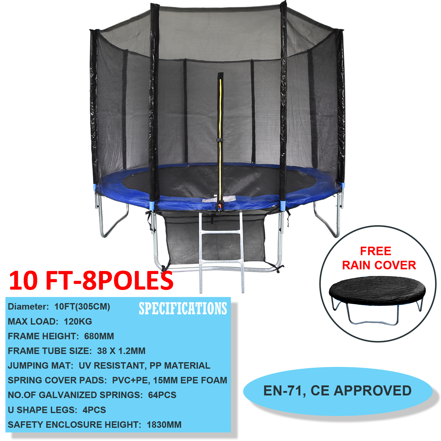 New Heavy Duty Trampoline 14 Ft With Ladder Safety Net: 6FT 8FT 10FT 12FT 14FT Trampoline With Safety Net