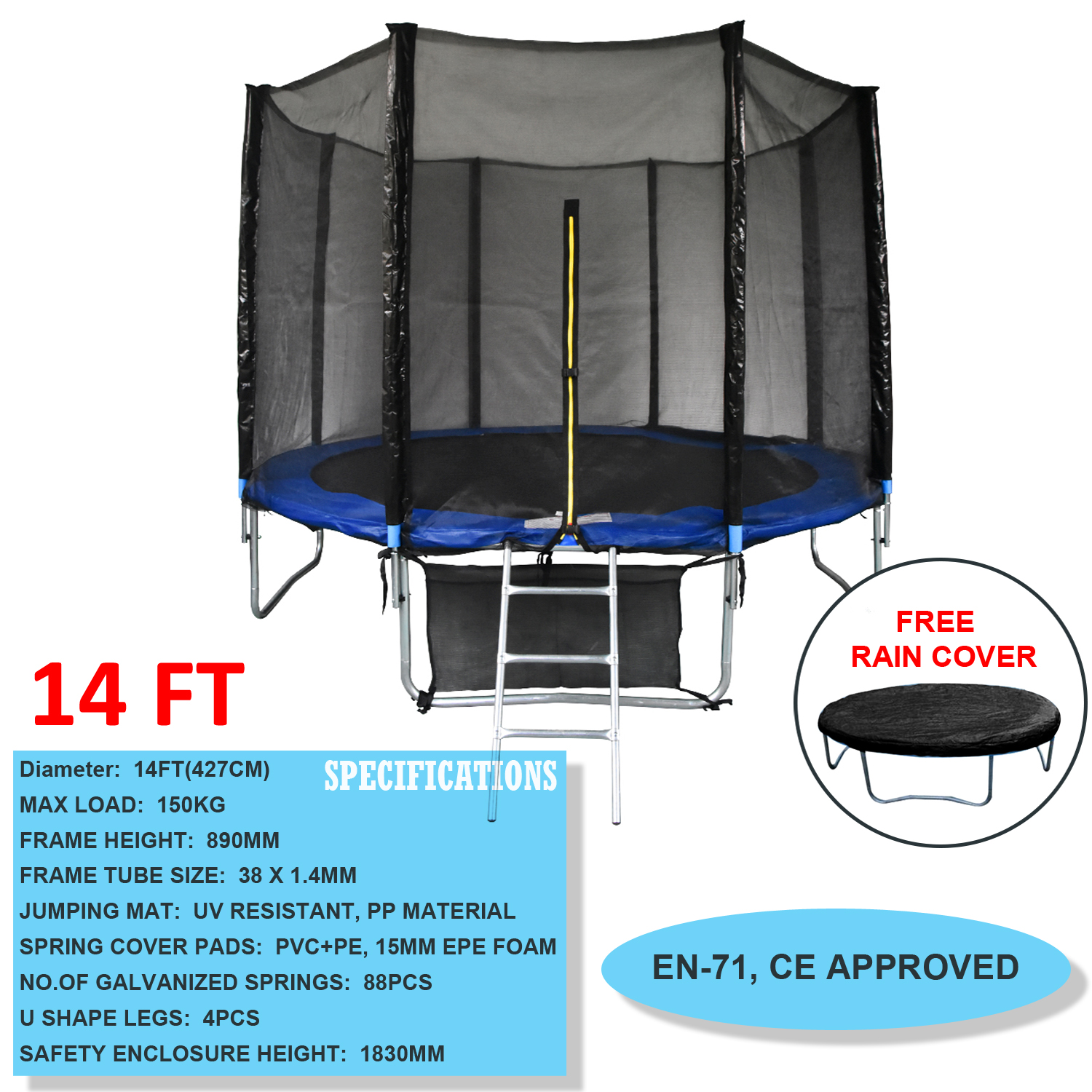 6ft 8ft 10ft 12ft 14ft Trampoline With Safety Net
