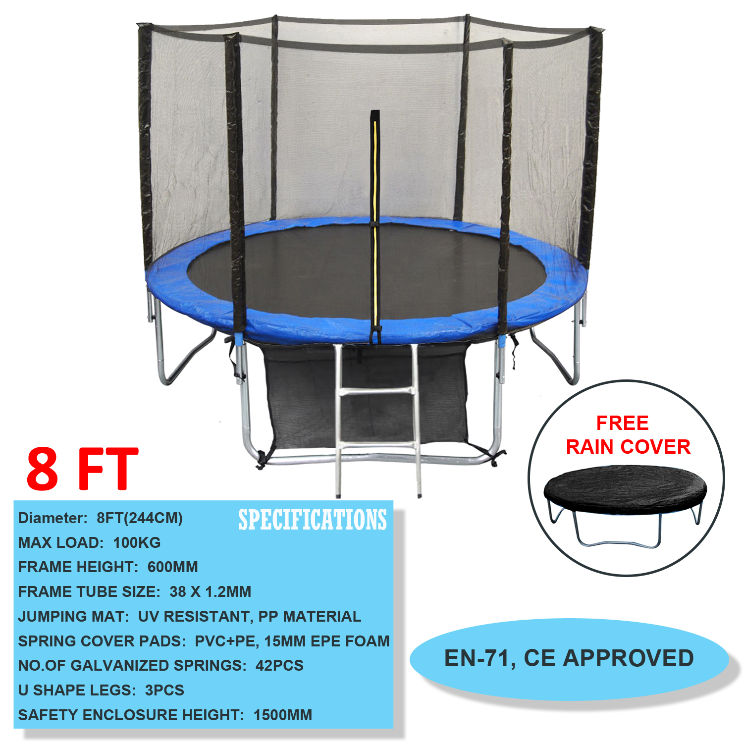 14 Ft Trampoline Safety Pad Epe Foam Spring: 6FT 8FT 10FT 12FT 14FT Trampoline With Safety Net