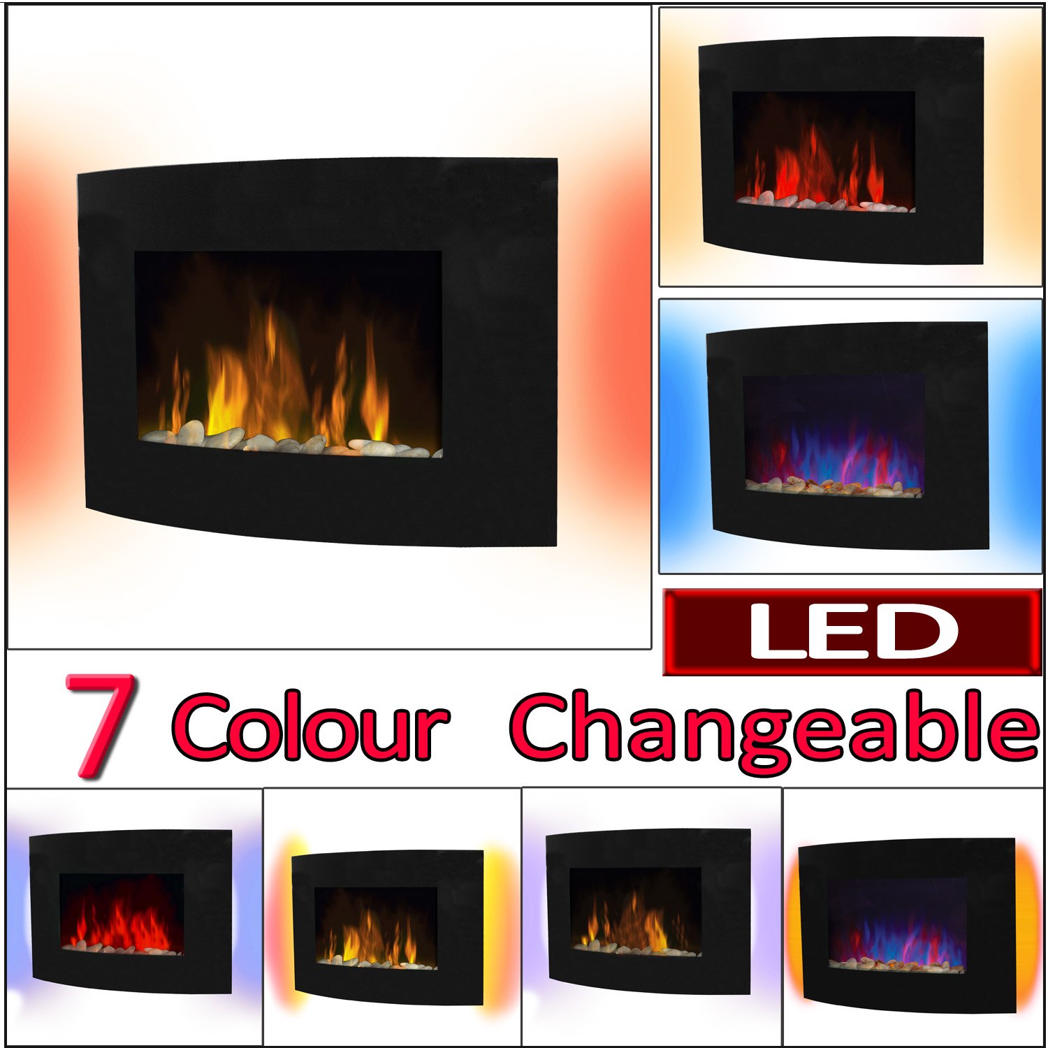 2kw Curved Glass 7 Colour Led Backlit Electric Fireplace