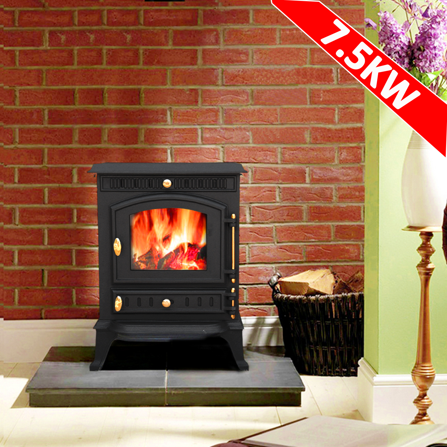 multifuel wood burning log cast iron woodburner stove fireplace ja010