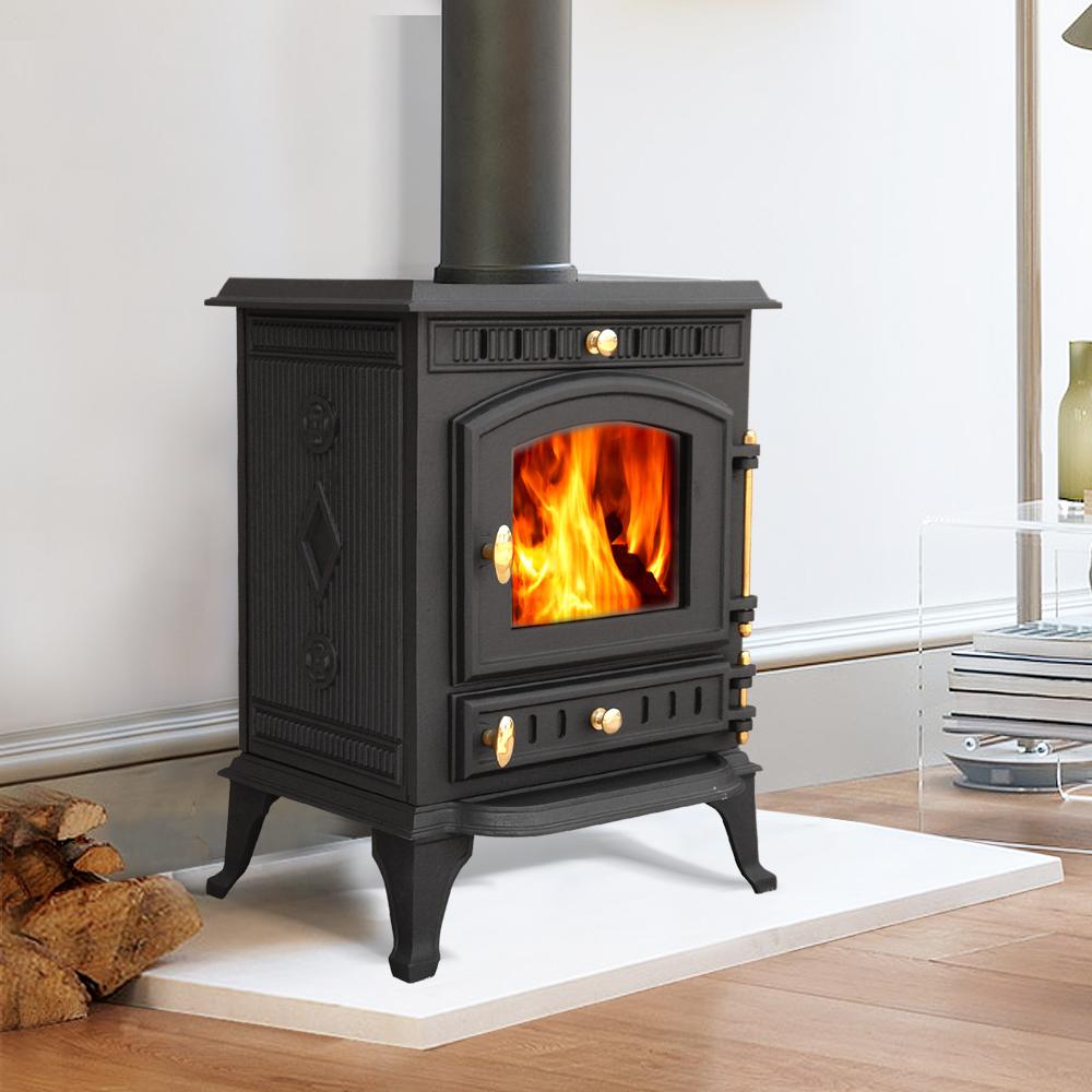 Modern 7 5kw multifuel wood burning cast iron woodburner for Wood burning fireplace construction