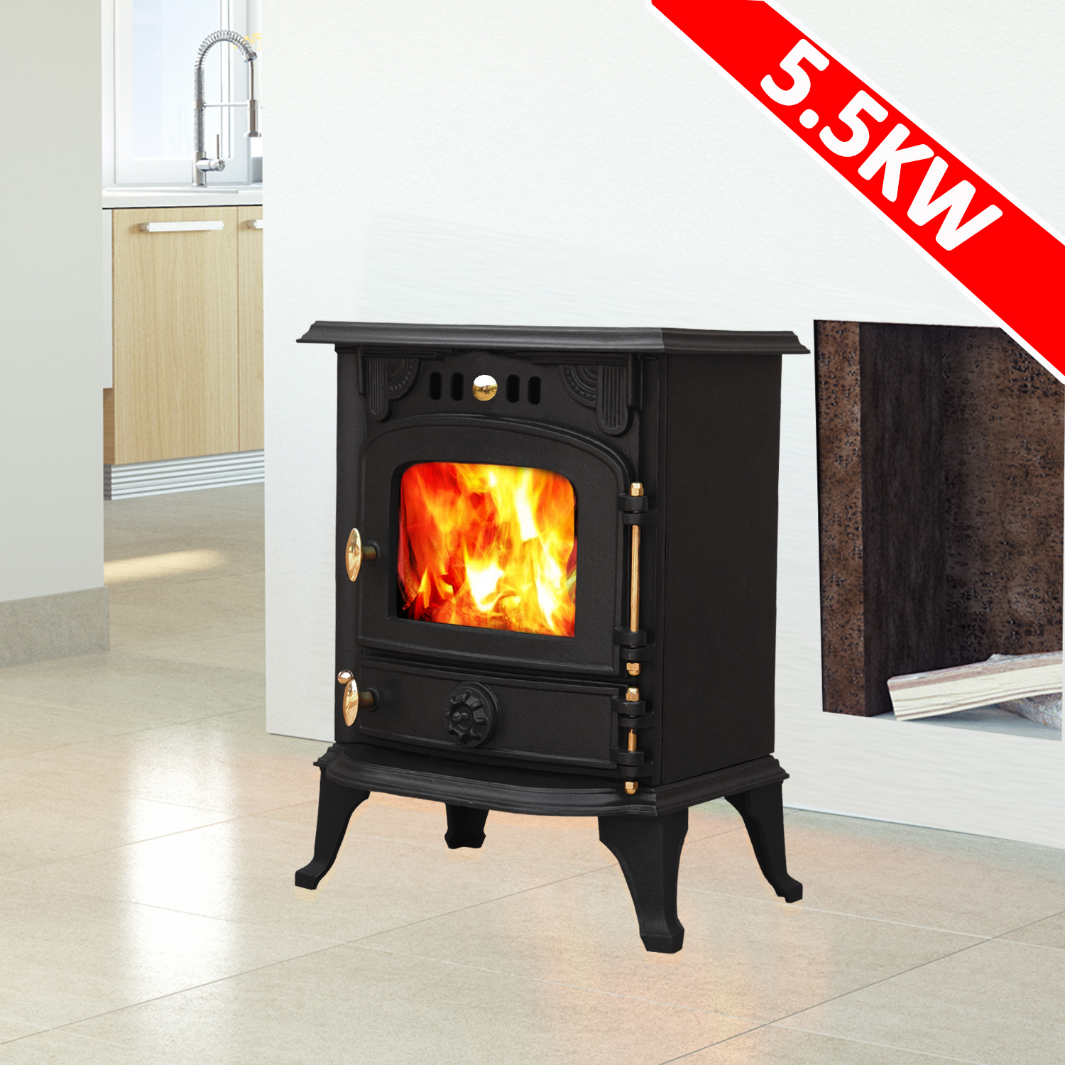 Harmston 5.5KW Multifuel Cast Iron Log Burner Wood Burning ...