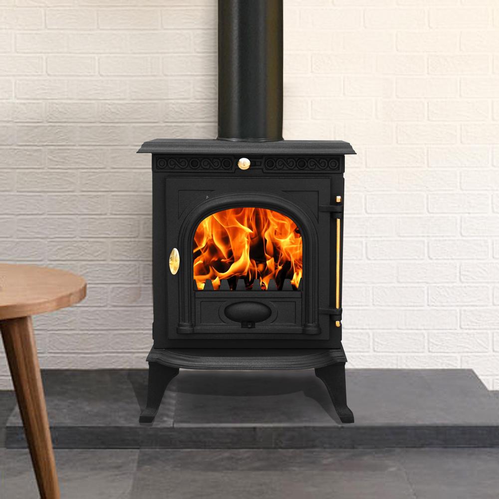 Ja014 6 5kw Cast Iron Log Burner Modern Multifuel Wood