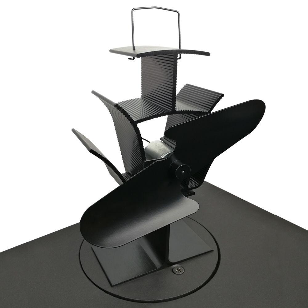 stromloser kaminofen ventilator in schwarz f r holzofen ofen gebl se ebay. Black Bedroom Furniture Sets. Home Design Ideas