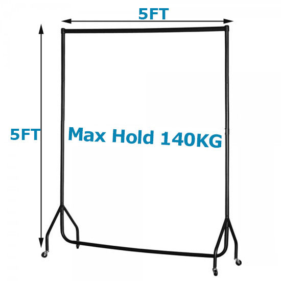 5ft Heavy Duty Garment Rail Clothes Display Stand Dress