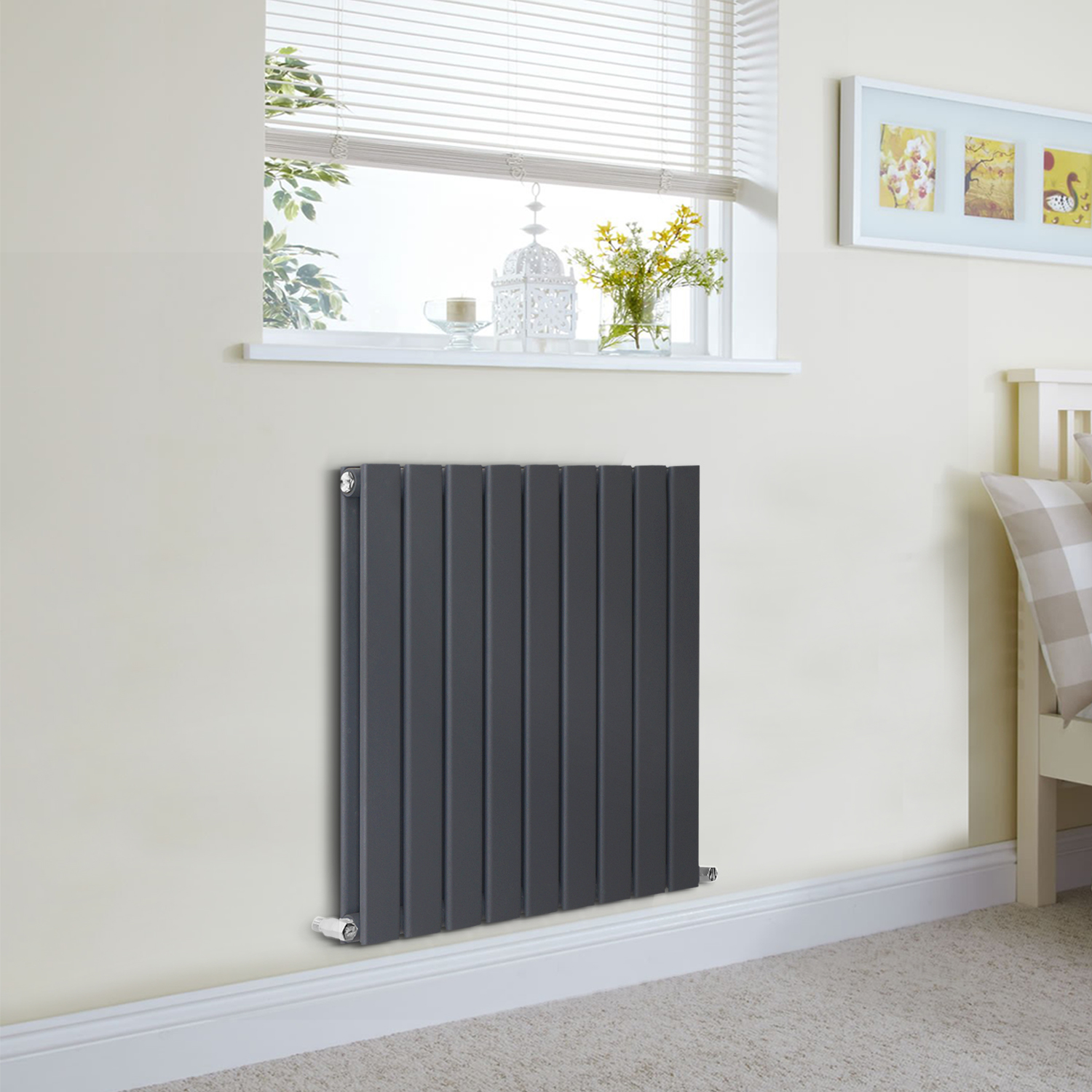 Designer flat panel radiator room heater uk centre heating system ebay for Contemporary radiators for living room