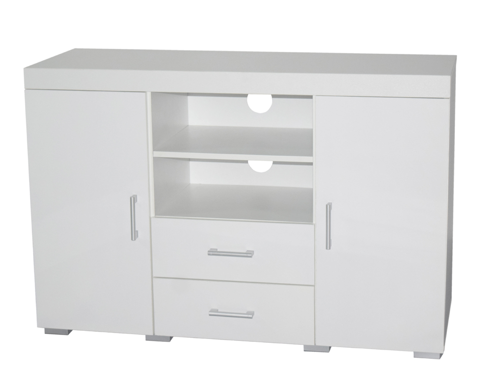 White Tall TV Stand Cabinet Entertainment Centre Sideboard 2 Doors 2 Drawers eBay