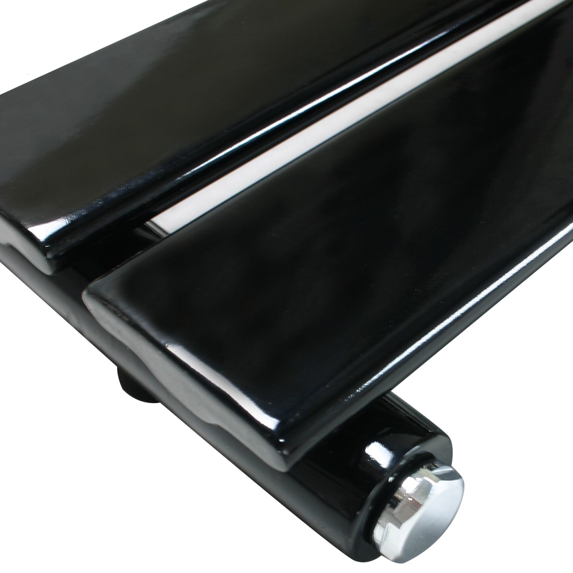 Gloss Black Heated Towel Rail Flat Panel Bathroom Warmer