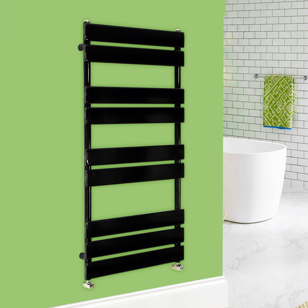 designer flat panel bathroom heated towel rail radiator. Black Bedroom Furniture Sets. Home Design Ideas