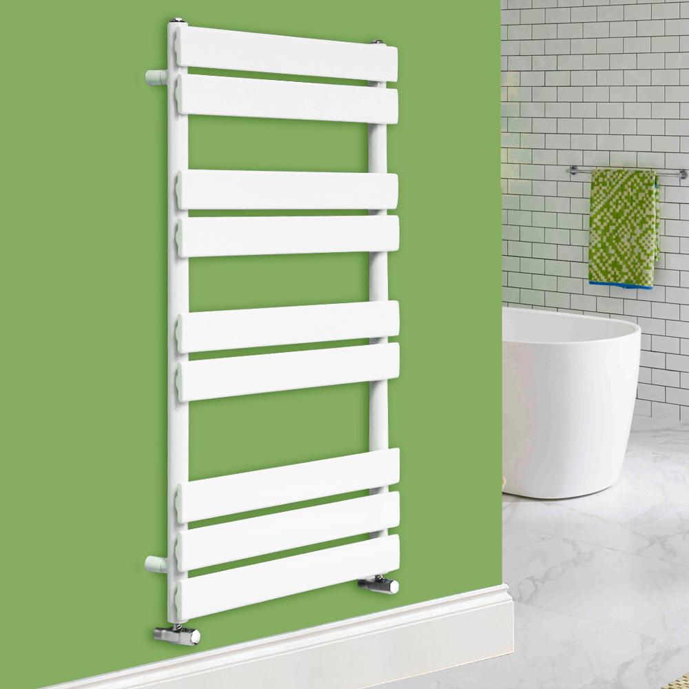 White Bathroom Radiators: Designer Flat Panel Bathroom Heated Towel Rail Radiator