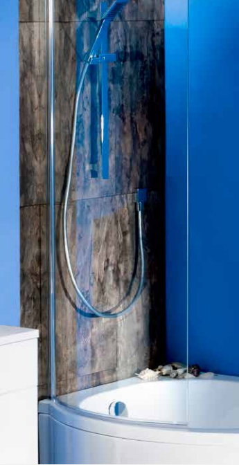 1400x710mm Bathroom P Shape Shower Bath Screen 6mm Glass