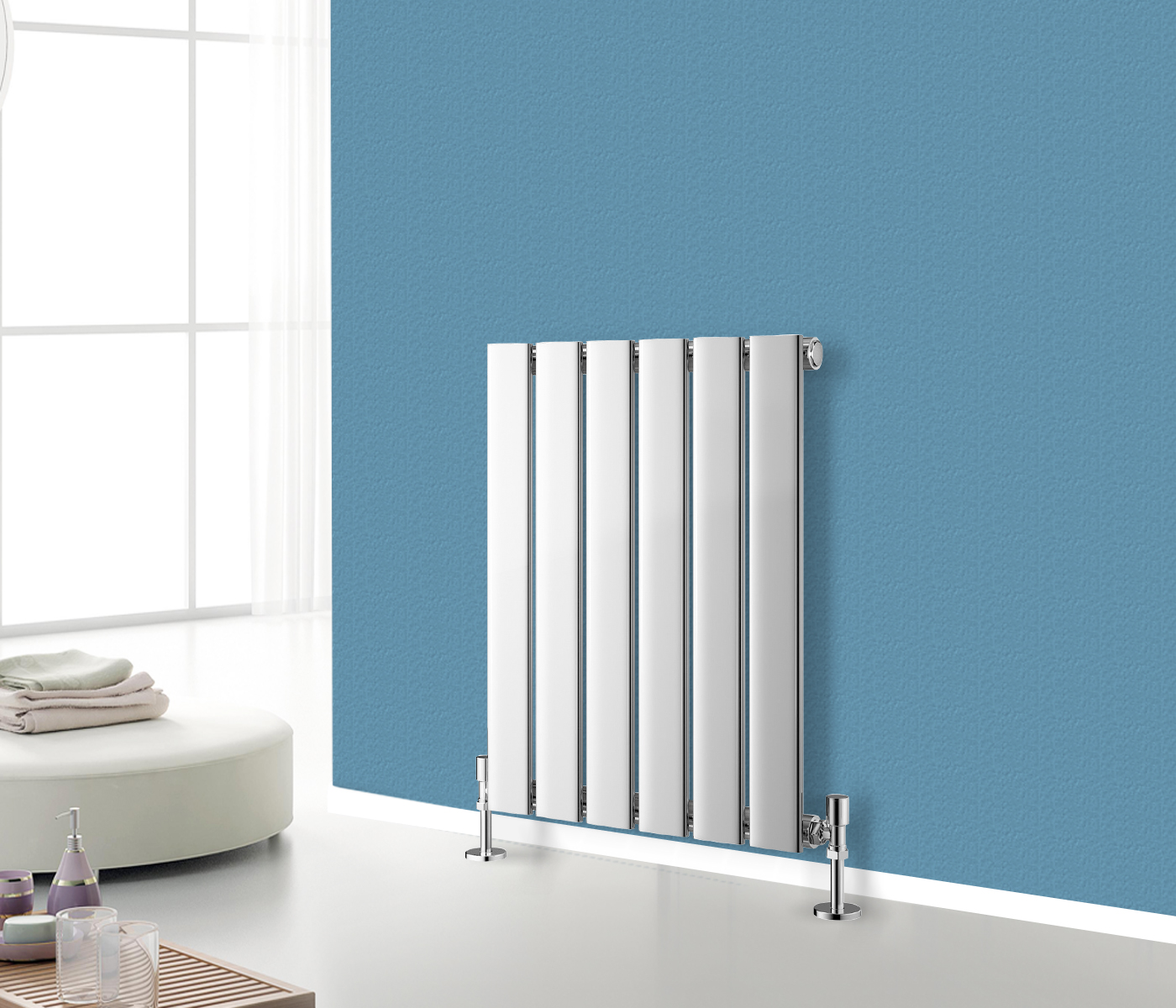 Horizontal radiator designer flat panel column bathroom for How to heat a bathroom