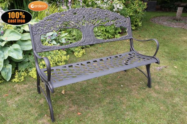 Solid Cast Iron Bench Garden Metal Bench With Tree Outdoor