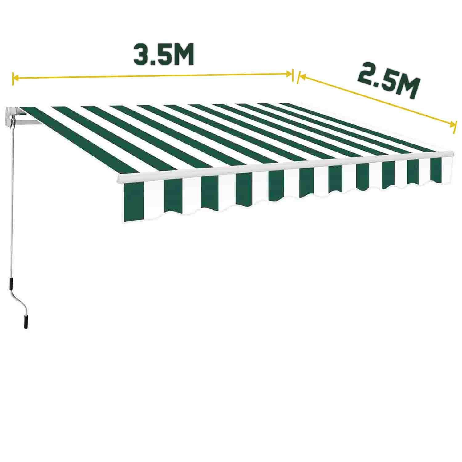 3 5 X 2 5m Manual Awning Garden Patio Shelter Sun Shade