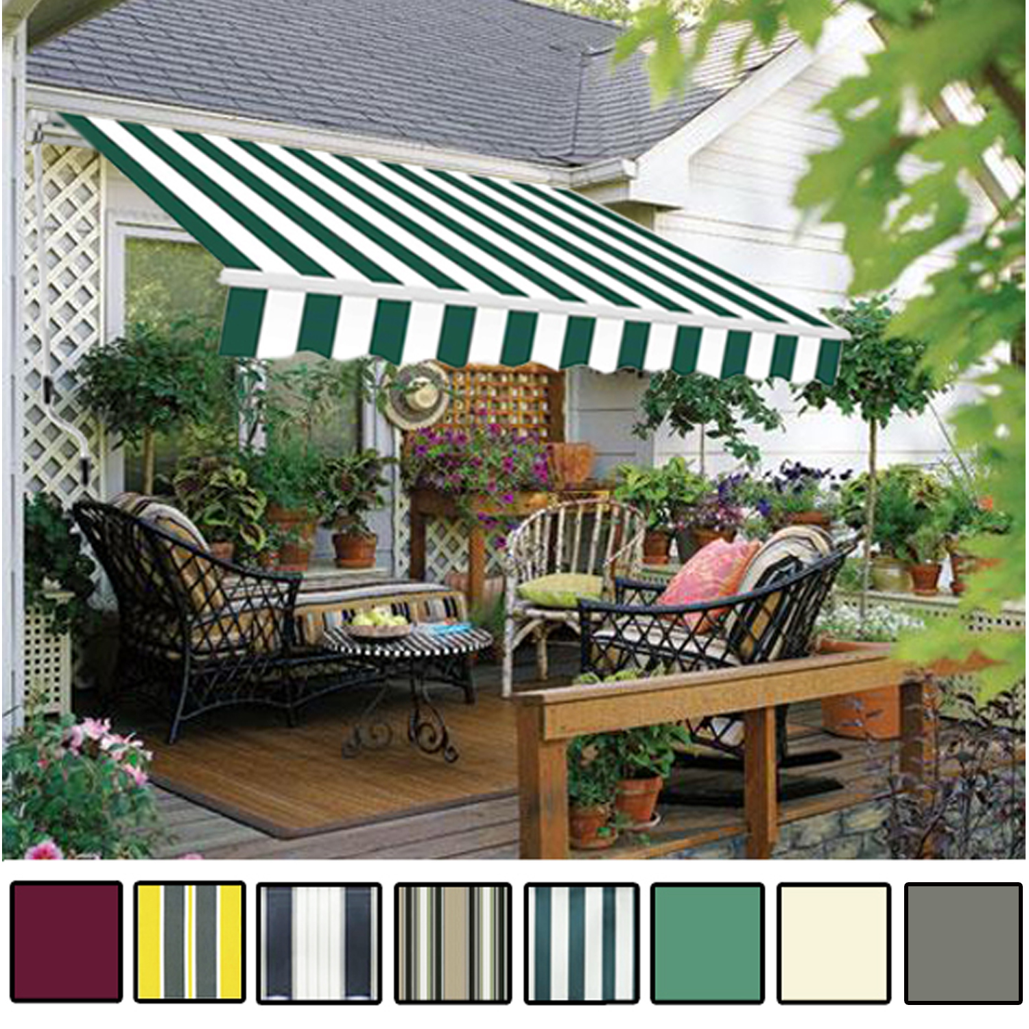 manual awning canopy garden patio shade shelter aluminium