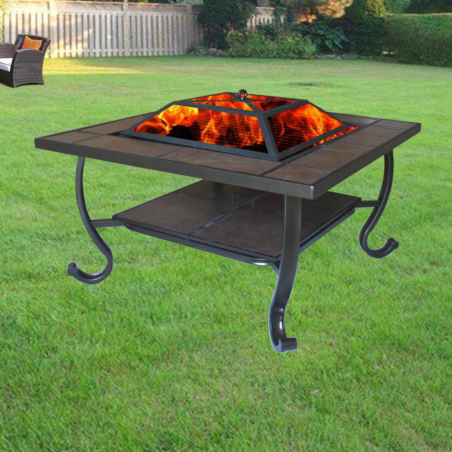 Backyard Patios With Fire Pits: Garden Firepit Patio Heater Stove Fire Pit Square Brazier
