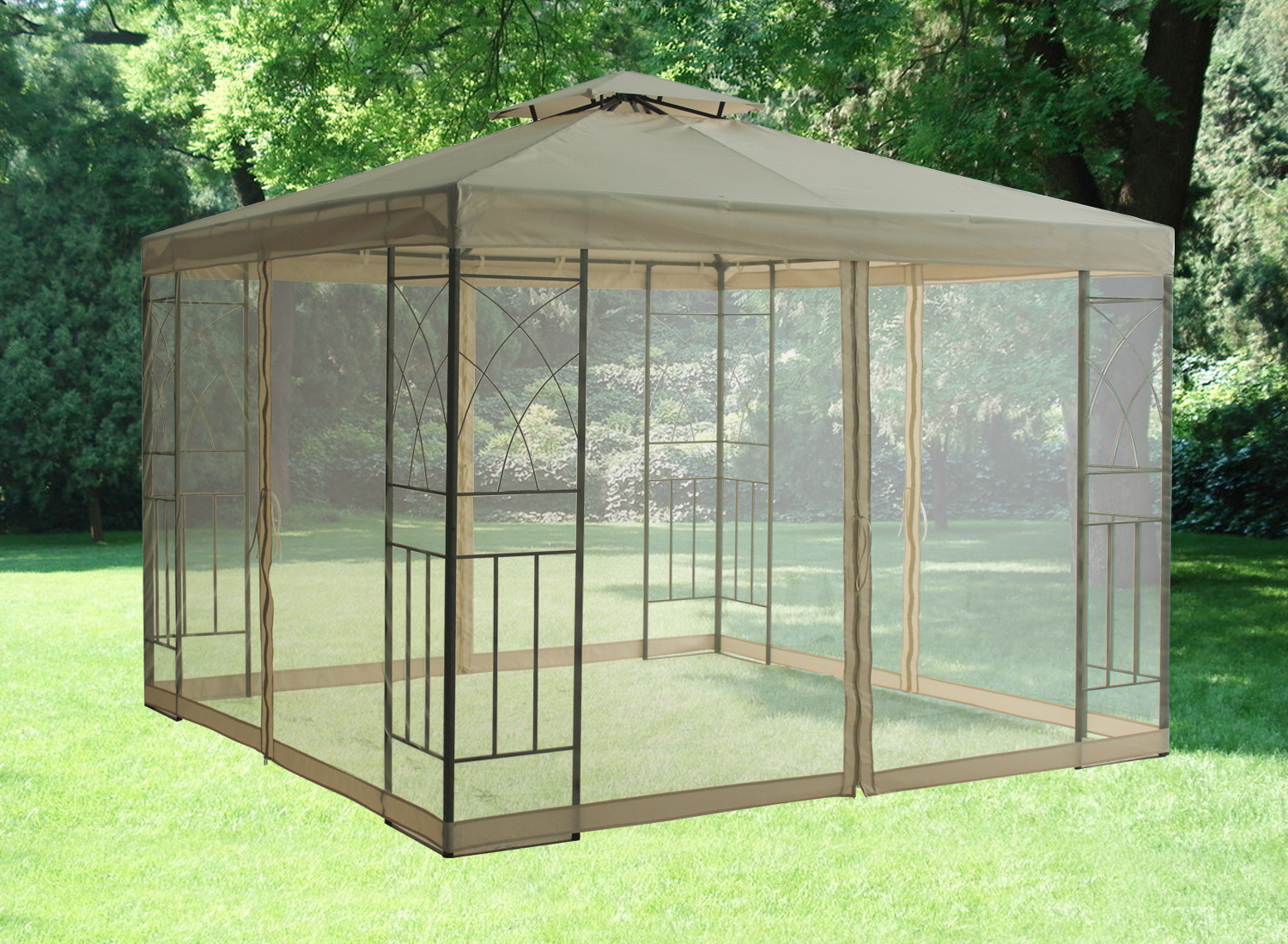 Pavilion metal gazebo sun shade marquee mosquito net fly - Insect netting for gazebo ...