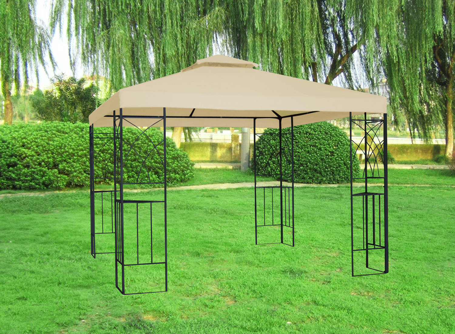 3x3m metal gazebo pavilion garden canopy sun shade shelter. Black Bedroom Furniture Sets. Home Design Ideas