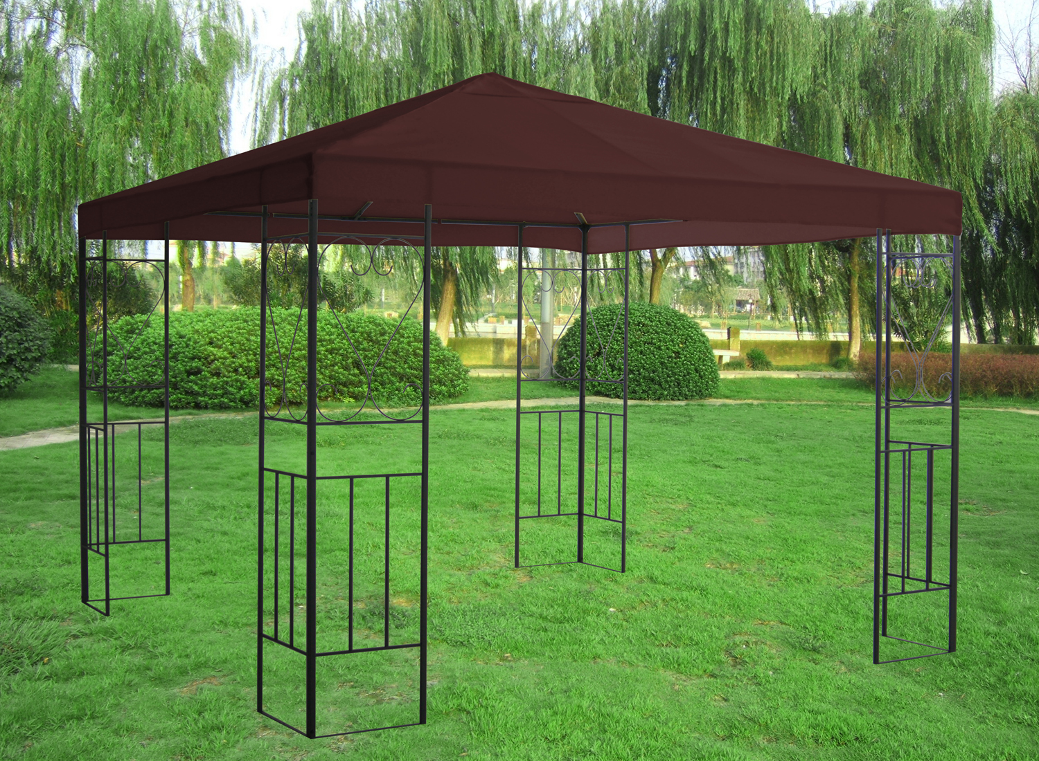 3x3m metal gazebo pavilion canopy sun shade shelter. Black Bedroom Furniture Sets. Home Design Ideas