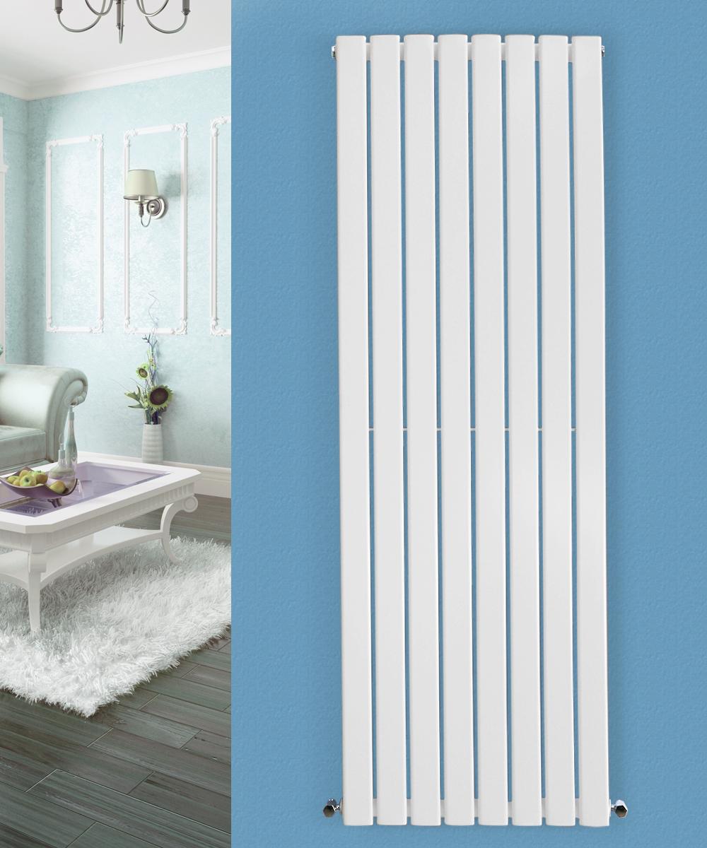 White Bathroom Radiators: Flat Panel Column Designer Modern Bathroom Radiators