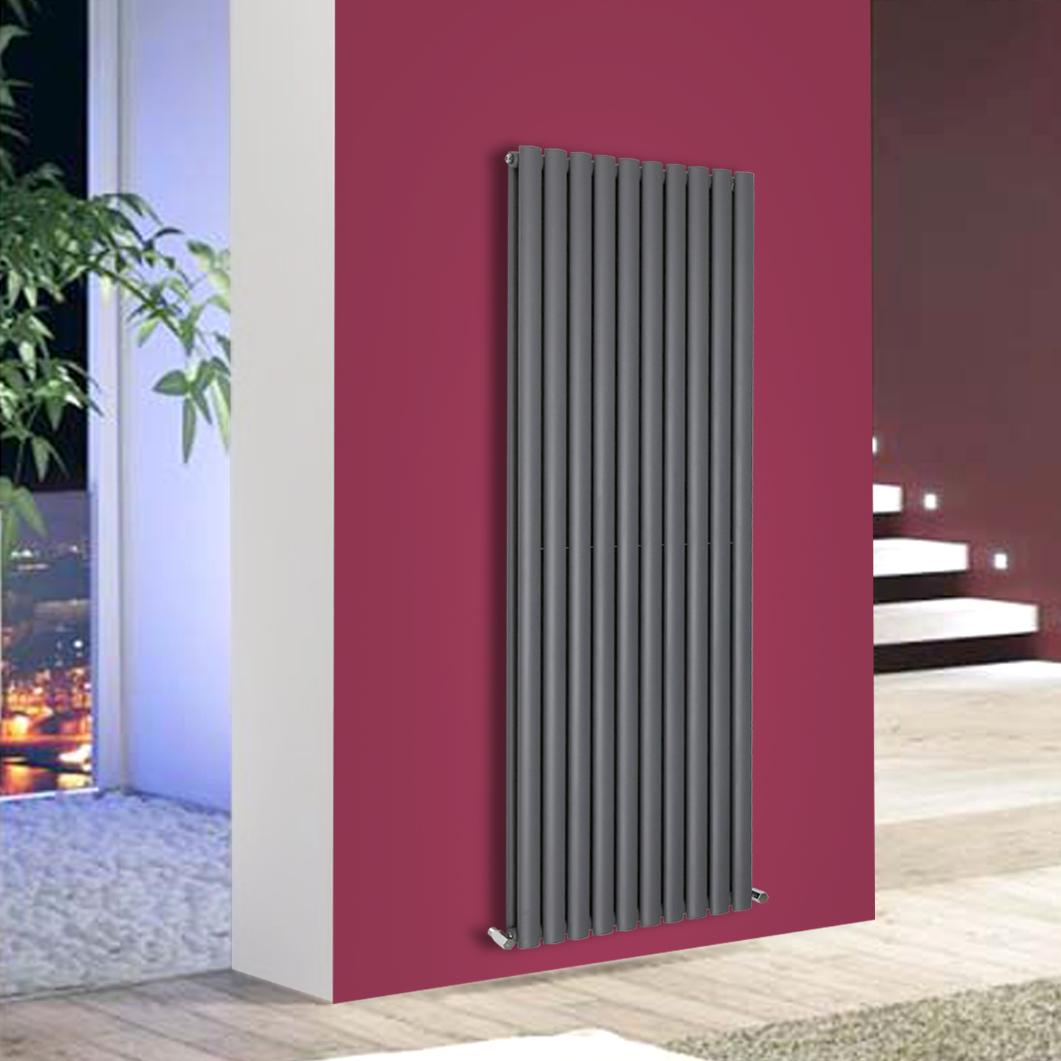 Horizontal Vertical Oval Column Designer Radiator Central