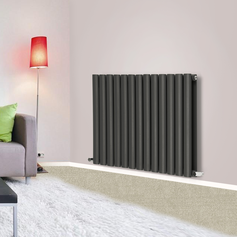 Horizontal Oval Column Flat Panel Designer Radiators White Modern Living Room Radiators