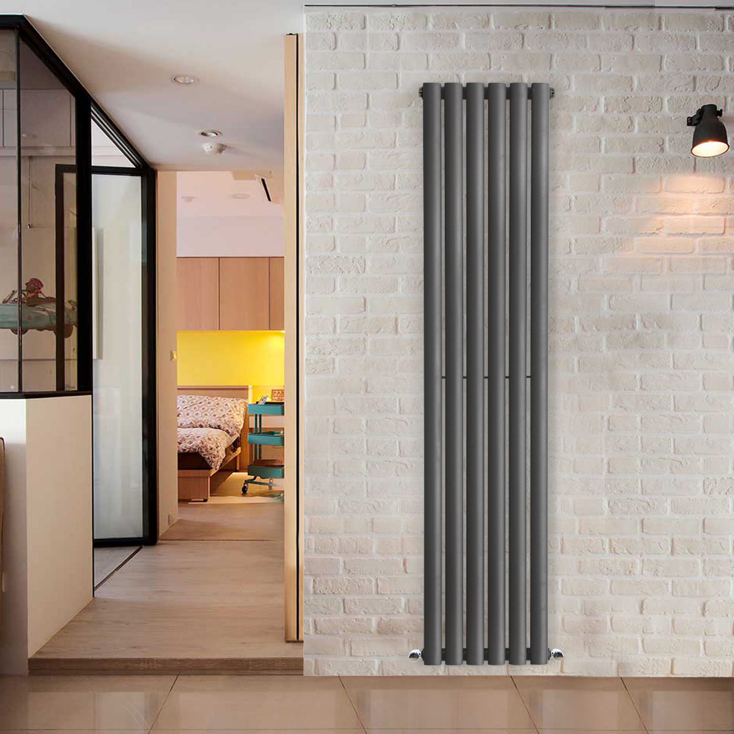 Anthracite Designer Oval Column Radiator Bathroom Central
