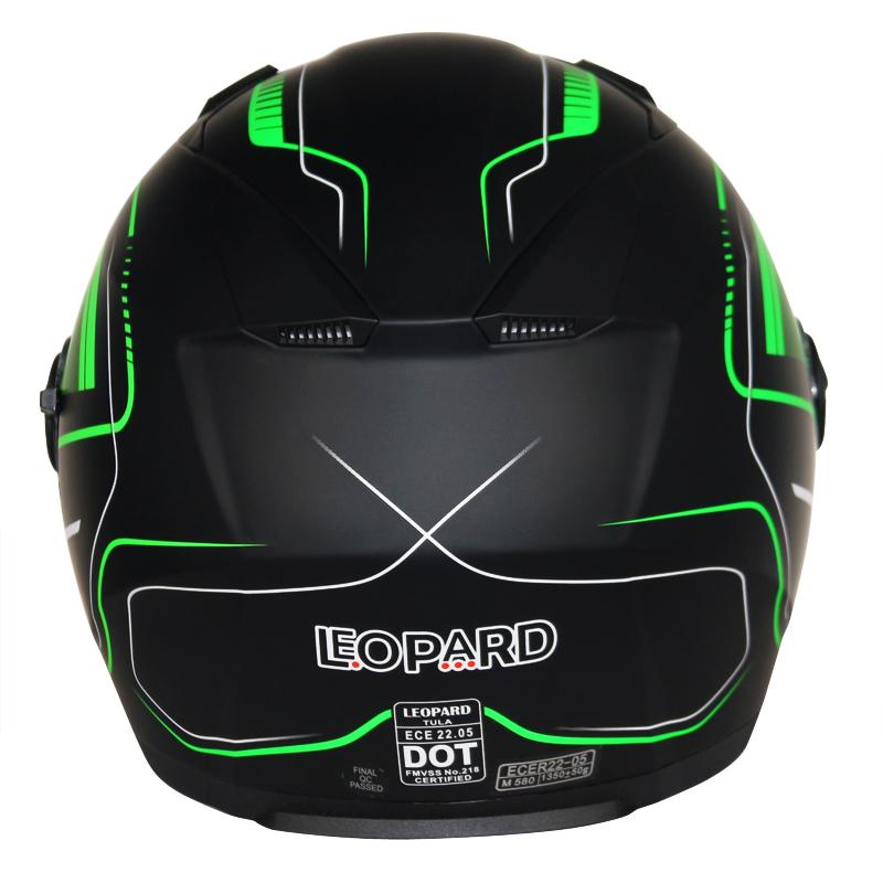 Casque-Moto-Casque-Jet-Crash-Noir-Vert-Bike-Pare-soleil-integre-Leopard