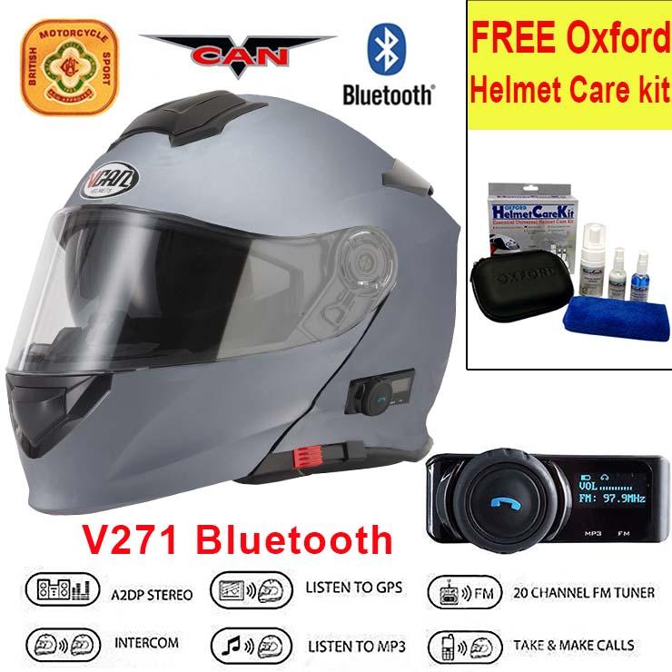Vcan-V271-Blinc-5-Bluetooth-Flip-Up-Motorcycle-Helmet-FREE-Oxford-Care-Kit