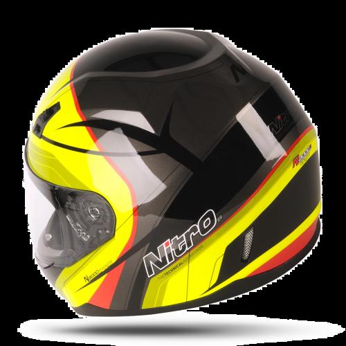 Nitro N2000-VN Full Face Pioneer Motobike Motorcycle Helmet Black//White//Silver M 57-58cm