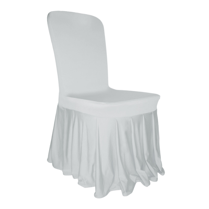 Pleated skirt chair cover lycra spandex wedding party for Housse chaise lycra