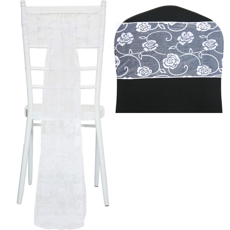 flocked organza sashes chair cover bow sash fuller bows