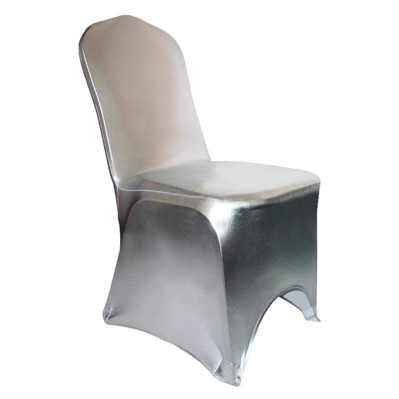 Metall Silber Glitter Bronzing Elastische Spandex Stuhl Abdeckung ...