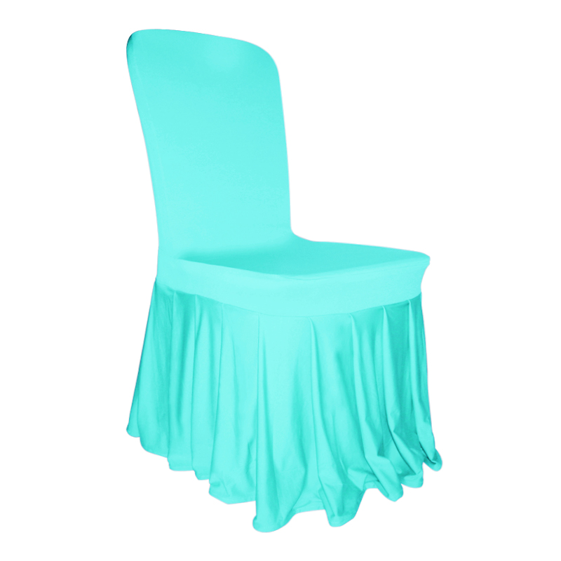 Pleated skirt chair cover lycra spandex flat front wedding for Housse lycra