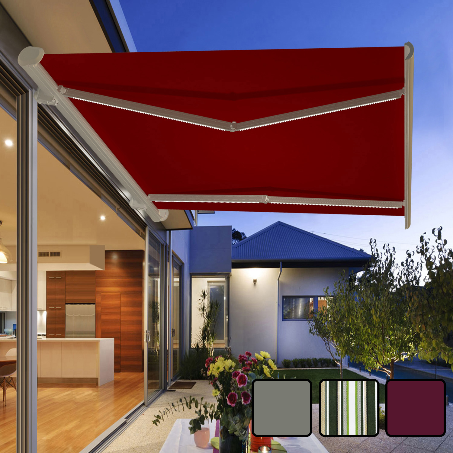 Garden Awning Retractable Canopy Electric Patio Shelter ...