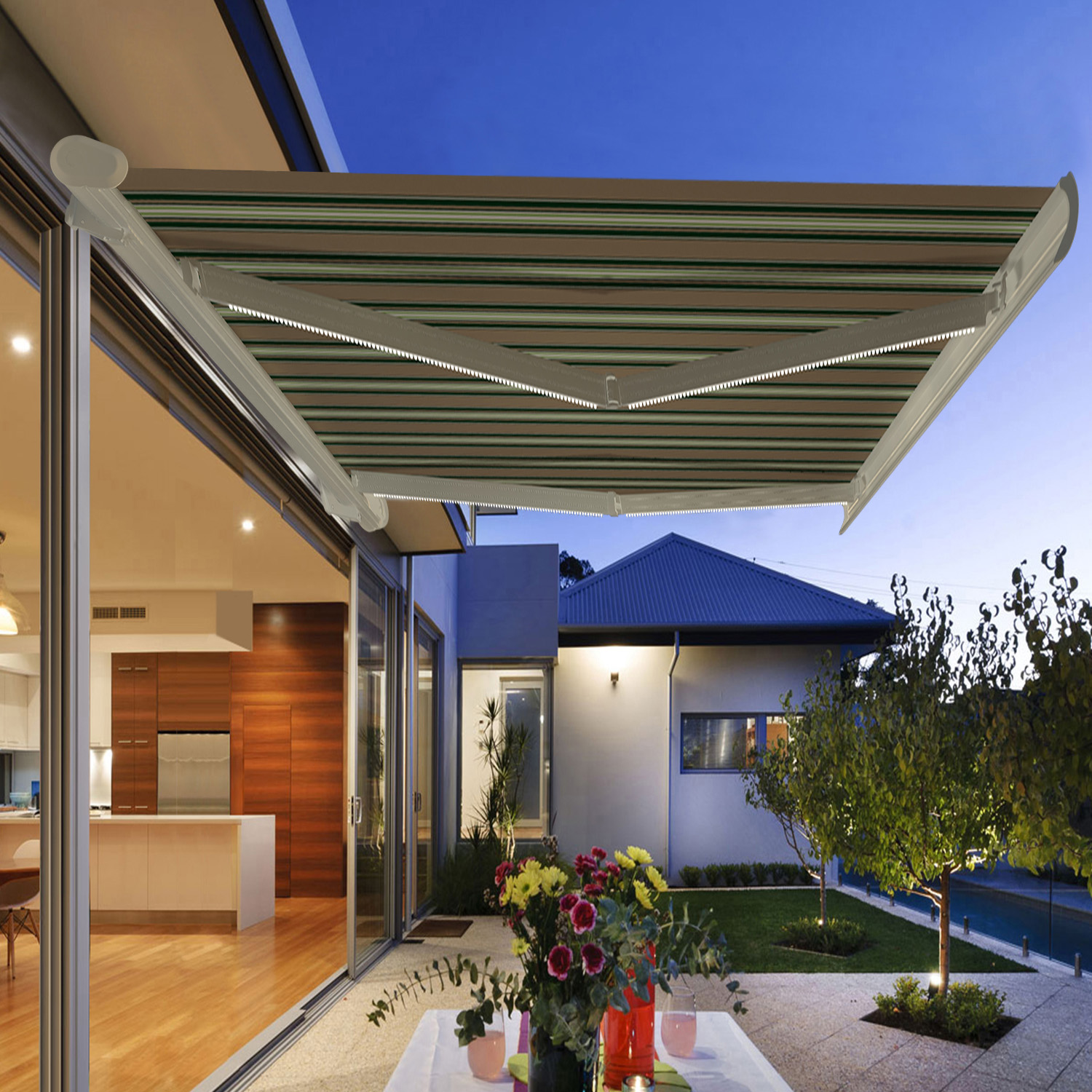 Garden Awning Retractable Canopy Electric Patio Shelter With