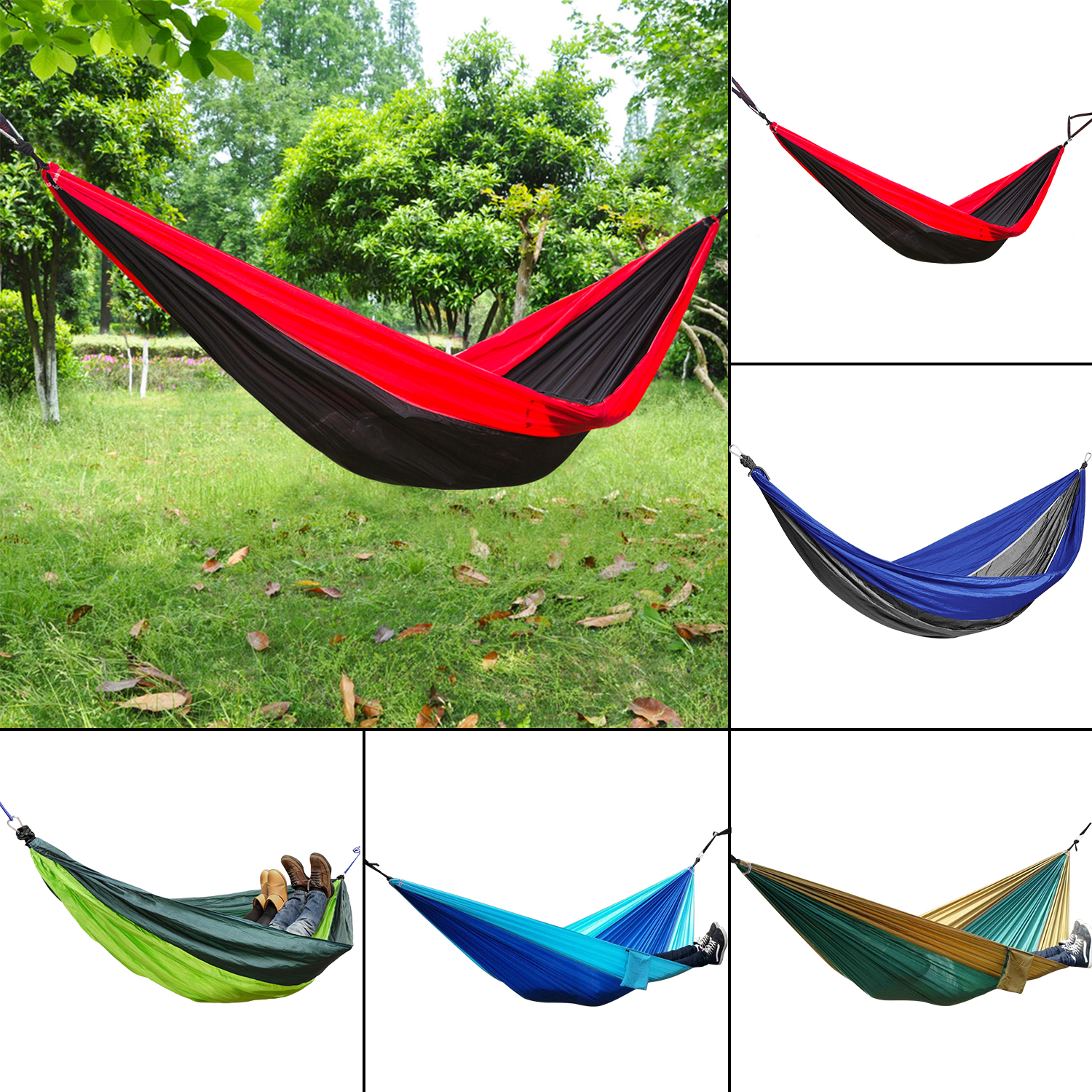 Camping Parachute Nylon Bed Double Person Hammock Travel Sleep Swing Bag New