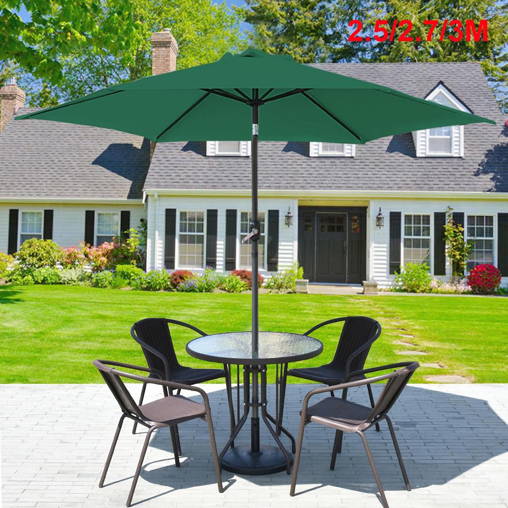 2x3m Garden Parasol Rectangle Patio Umbrella Sun Shade Steel Crank Tilt Green