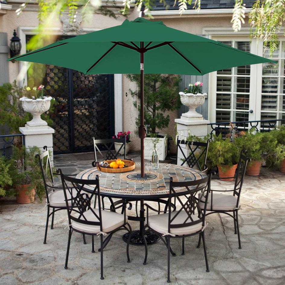 Green 2.7M LED Lights Umbrella Solar Patio Outdoor  Garden Sunshade Parasol UK