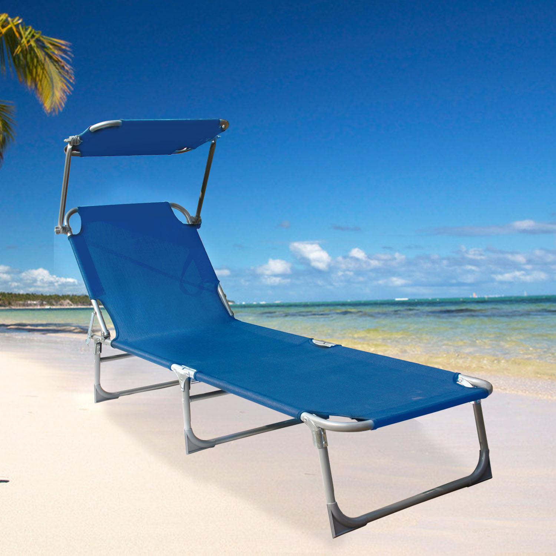 Folding Textilene Sun Lounger Recliner Chair Sun Shade Bed