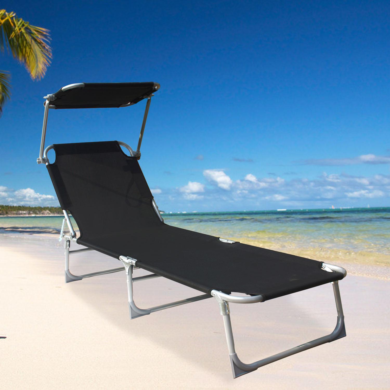 Folding Sun Lounger Recliner Chair Sun Shade Bed Outdoor
