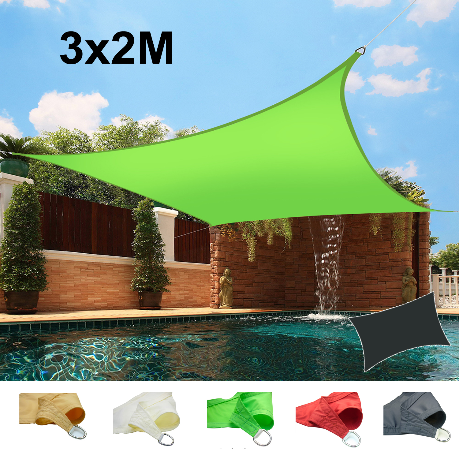 3m X 2m Sun Shade Sail Garden Patio Awning Canopy Screen