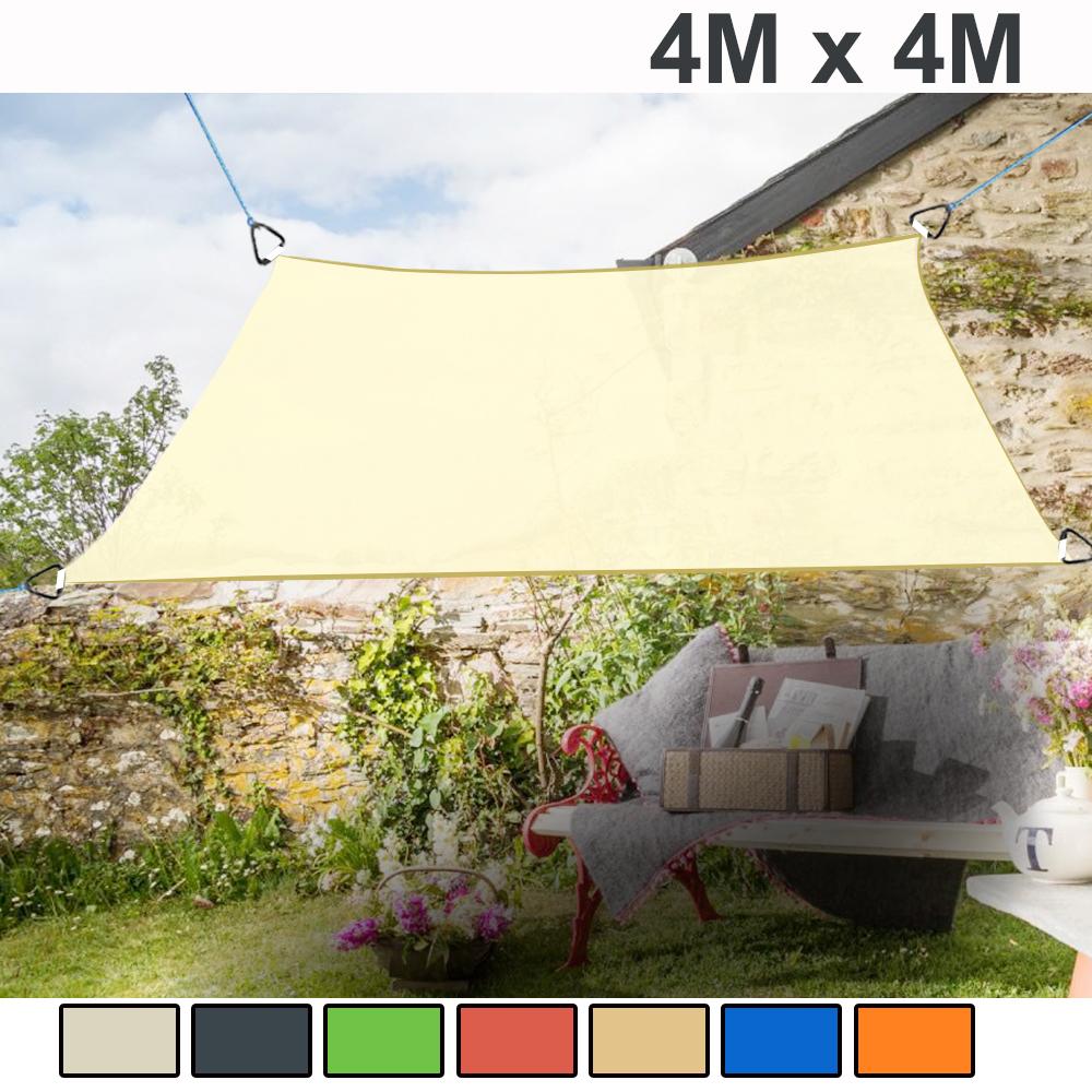 4m x 4m Sun Shade Sail Garden Patio Awning Canopy Screen ...
