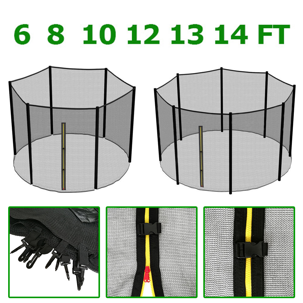 8ft Trampoline Safety Net Enclosure Ladder Rain Cover Shoe: 6 8 10 12 13 14 FT TRAMPOLINE REPLACEMENT PAD SAFETY NET